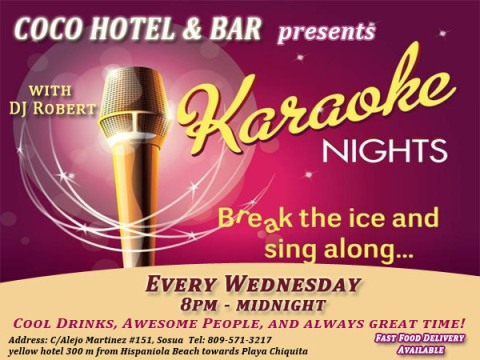 Karaoke night every Wednesday at Coco Hotel, Sosua