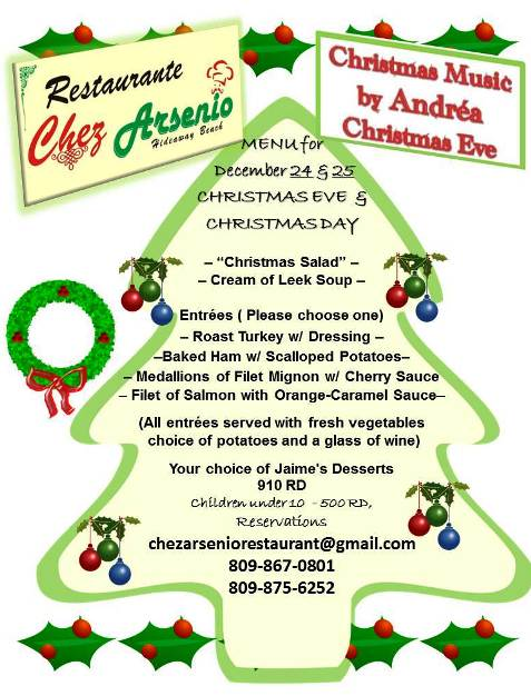 Christmas Dinner at Chez Arsenio with live music by Andrea