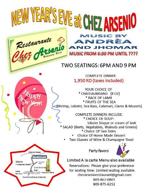 New Year's Eve with live music by Andrea and Jhomar at Chez Arsenio
