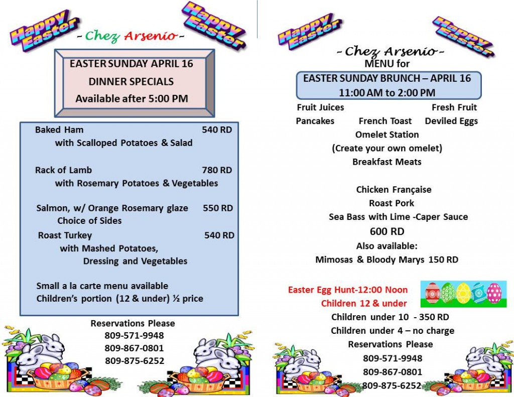 Easter Brunch & Dinner at Chez Arsenio, April 16th